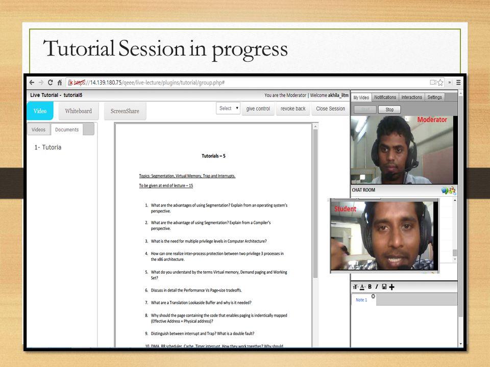 Tutorial Session in progress
