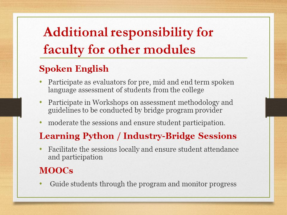 Spoken English Participate as evaluators for pre, mid and end term spoken language assessment of students from the college Participate in Workshops on assessment methodology and guidelines to be conducted by bridge program provider moderate the sessions and ensure student participation.