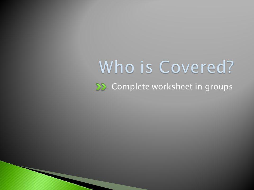 Complete worksheet in groups