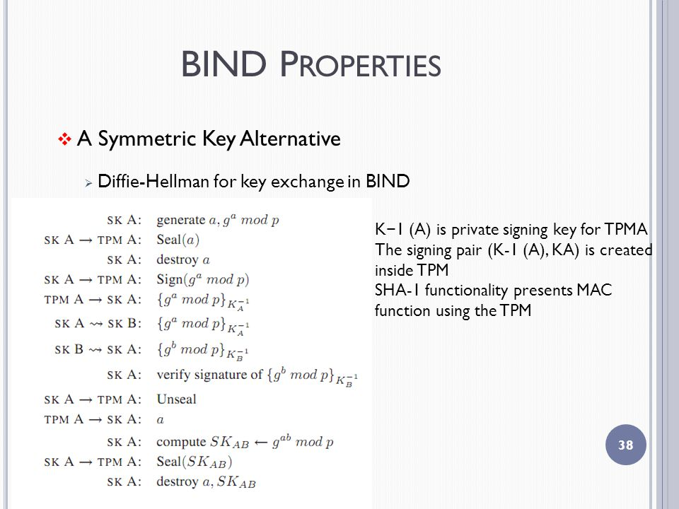 BIND P ROPERTIES  A Symmetric Key Alternative  Diffie-Hellman for key exchange in BIND 38 K − 1 (A) is private signing key for TPMA The signing pair (K-1 (A), KA) is created inside TPM SHA-1 functionality presents MAC function using the TPM