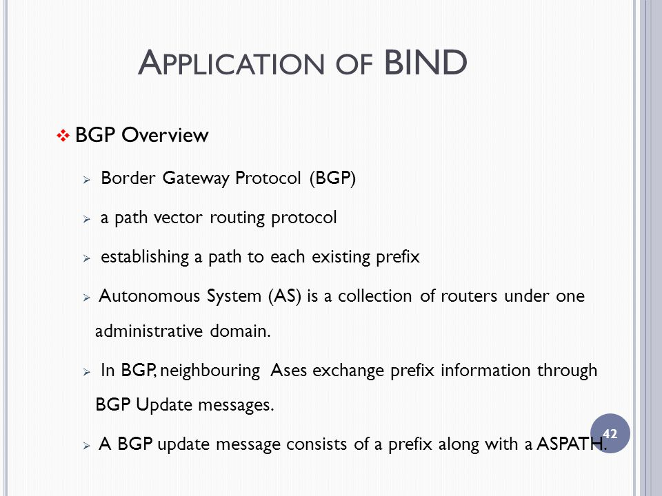 A PPLICATION OF BIND  BGP Overview  Border Gateway Protocol (BGP)  a path vector routing protocol  establishing a path to each existing prefix  Autonomous System (AS) is a collection of routers under one administrative domain.