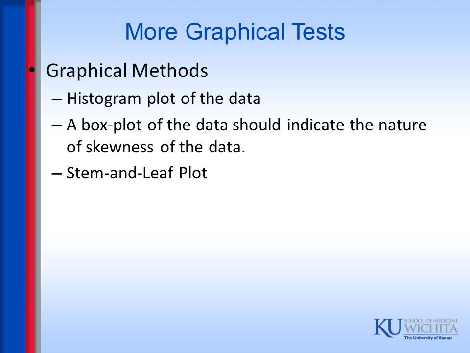 More Graphical Tests Graphical Methods – Histogram plot of the data – A box-plot of the data should indicate the nature of skewness of the data. – Ste