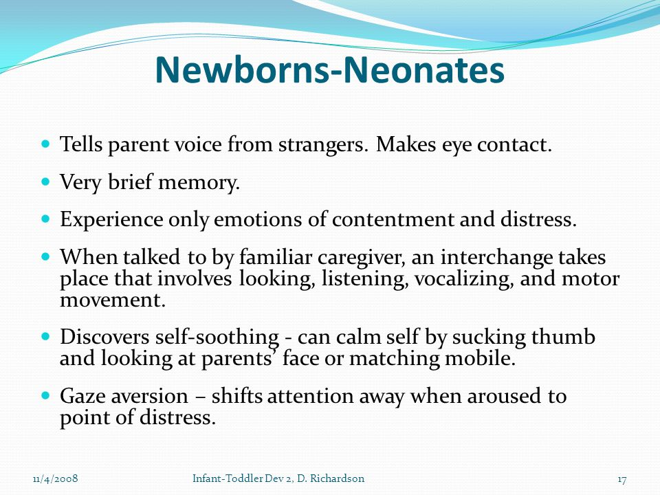 Newborns-Neonates Tells parent voice from strangers.