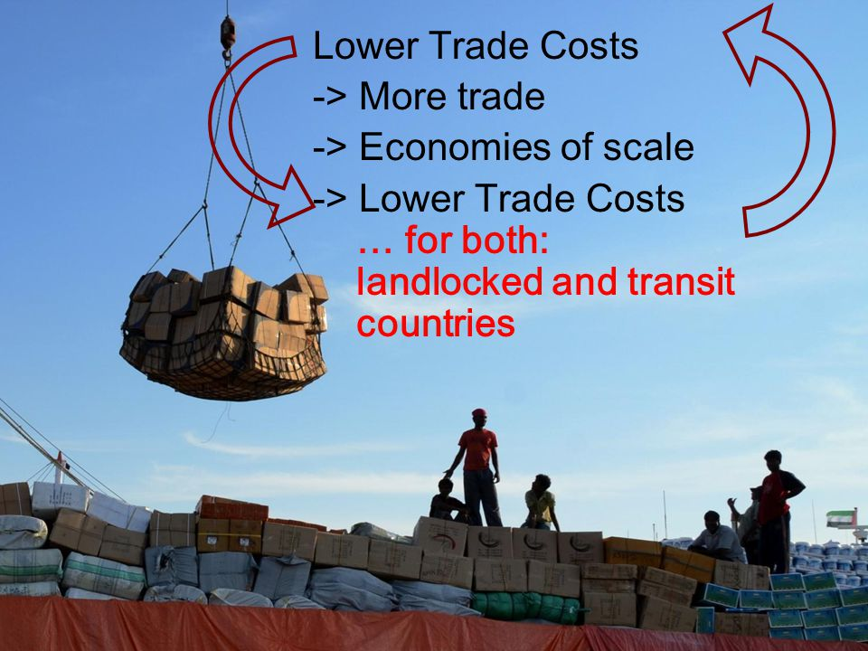 Lower Trade Costs -> More trade -> Economies of scale -> Lower Trade Costs … for both: landlocked and transit countries