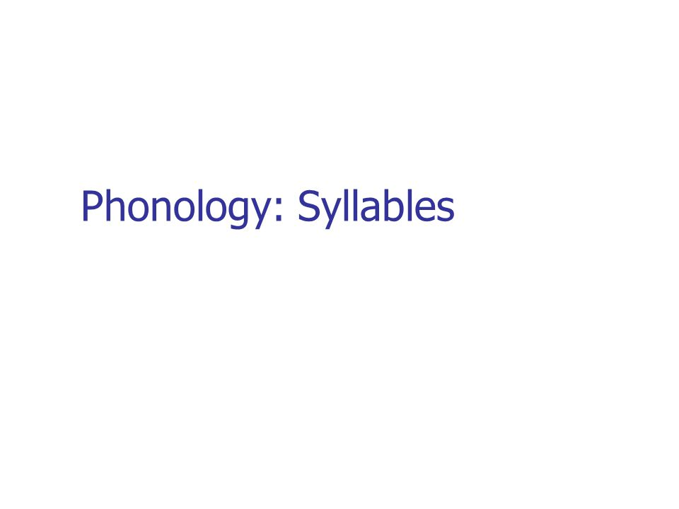 Phonology: Syllables