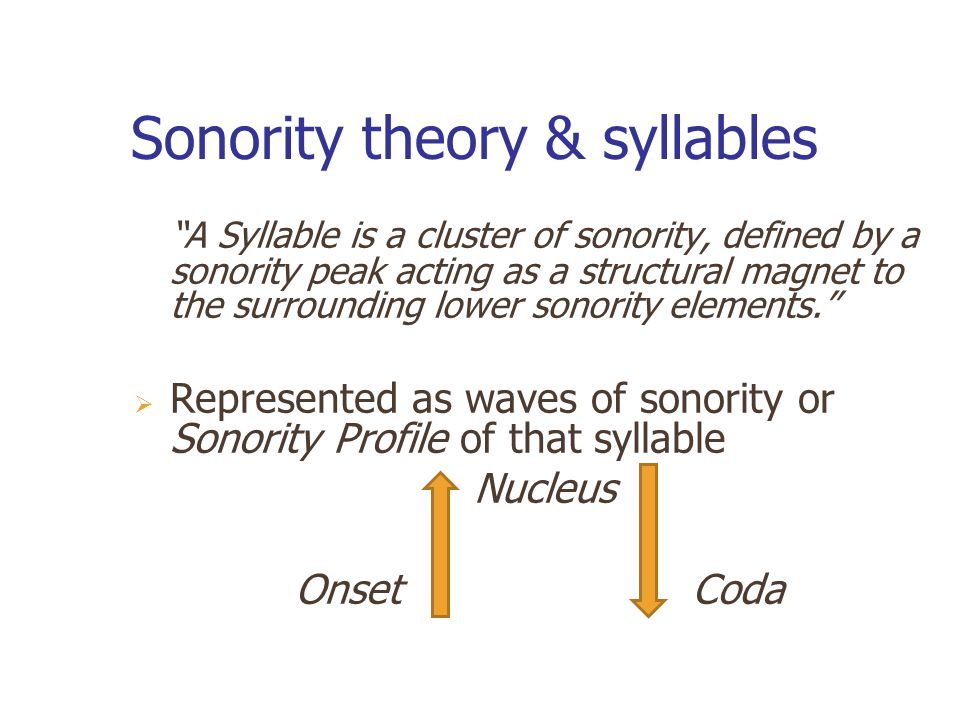 Sonority theory & syllables A Syllable is a cluster of sonority, defined by a sonority peak acting as a structural magnet to the surrounding lower sonority elements.  Represented as waves of sonority or Sonority Profile of that syllable Nucleus Onset Coda