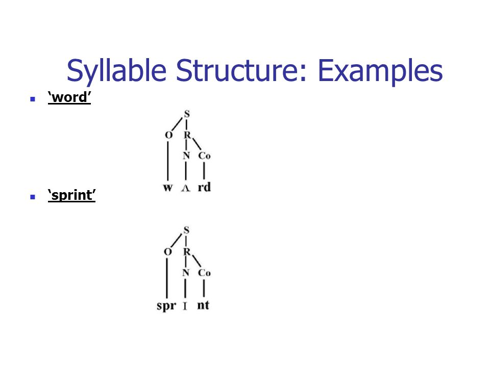 Syllable Structure: Examples 'word' 'sprint'