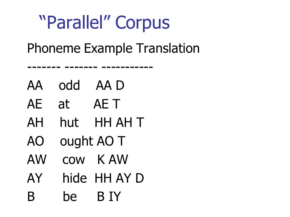 Parallel Corpus Phoneme Example Translation ------- ------- ----------- AA odd AA D AE at AE T AH hut HH AH T AO ought AO T AW cow K AW AY hide HH AY D B be B IY