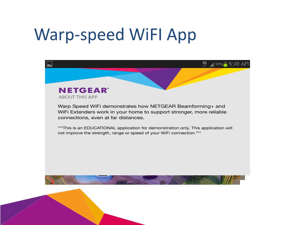 Warp-speed WiFI App