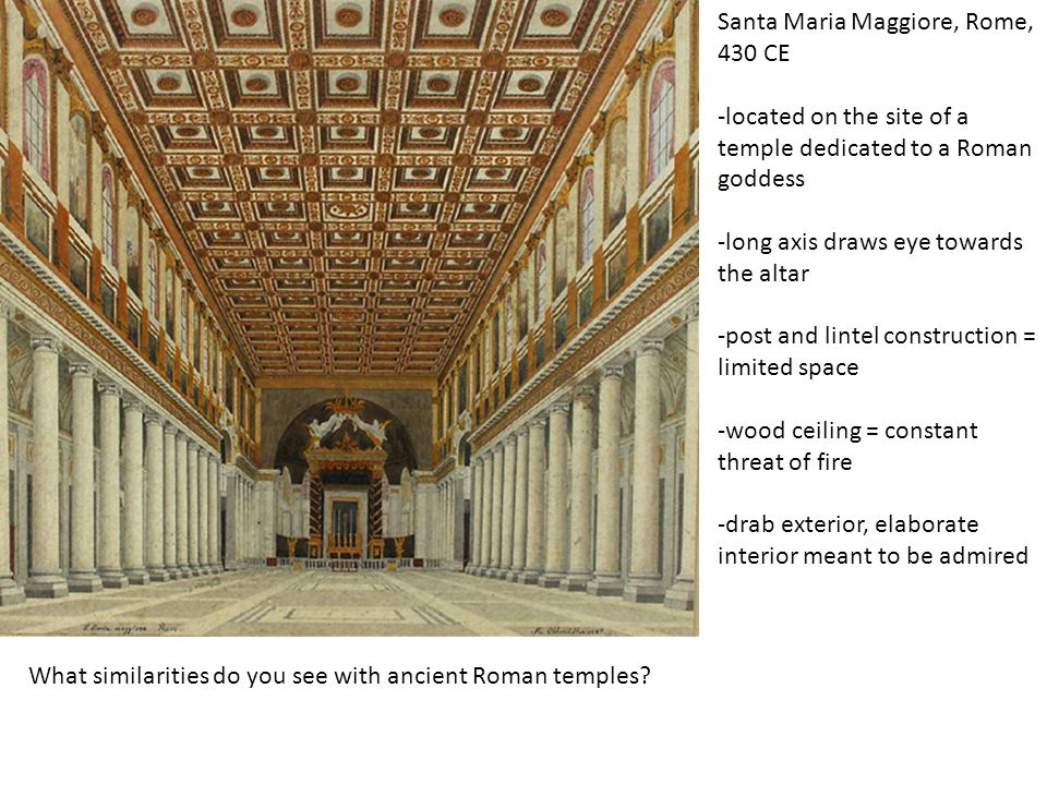 Architecture developments in early Christian culture Domed roofs began to be built: Santa Costanza, Rome, 350 CE Central (round) rather than axial plan Dome, rather than post and lintel, offers uninterrupted space