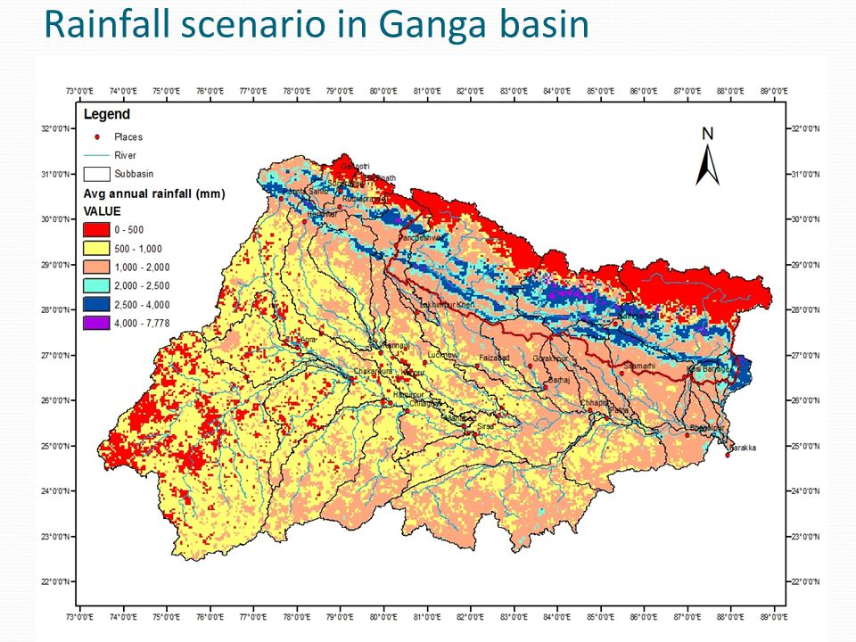 Rainfall scenario in Ganga basin