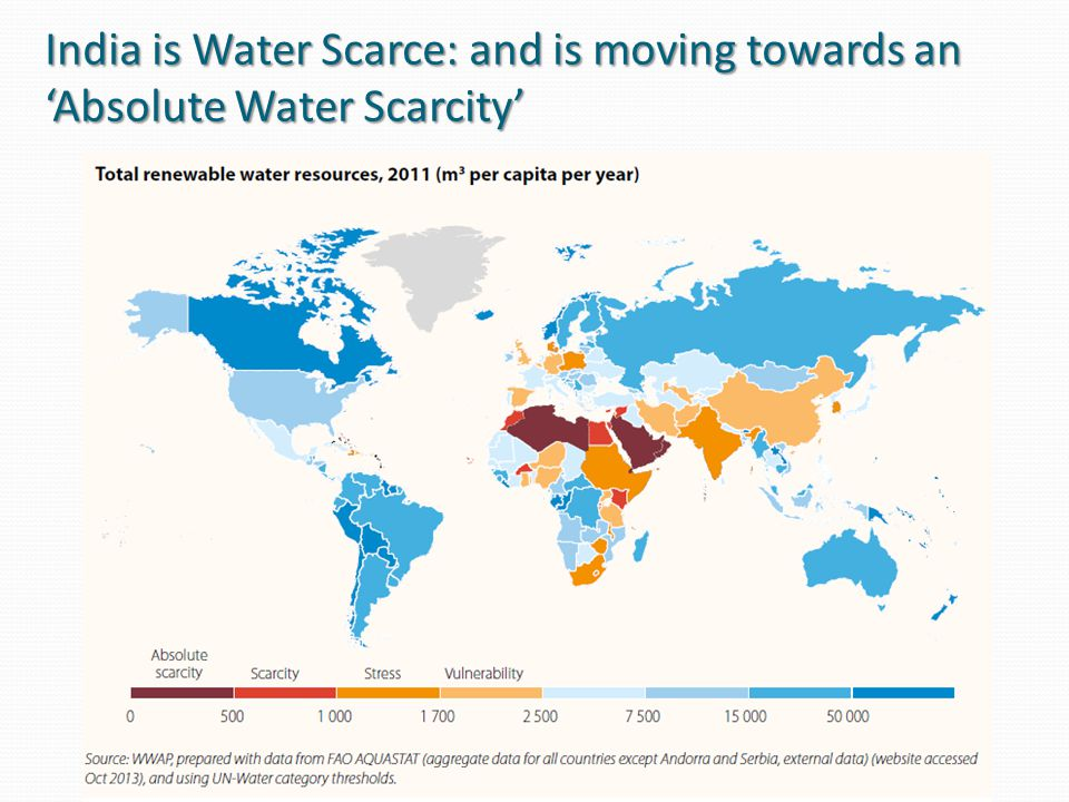 India is Water Scarce: and is moving towards an 'Absolute Water Scarcity'
