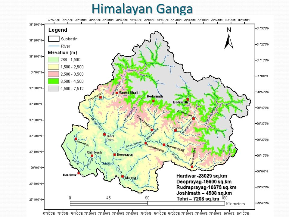 Average annual rainfall pattern of Himalayan Ganga Avg annual yield of Ganga at Rishikesh : 24.63 BCM, Nov-Apr : 3.48 BCM