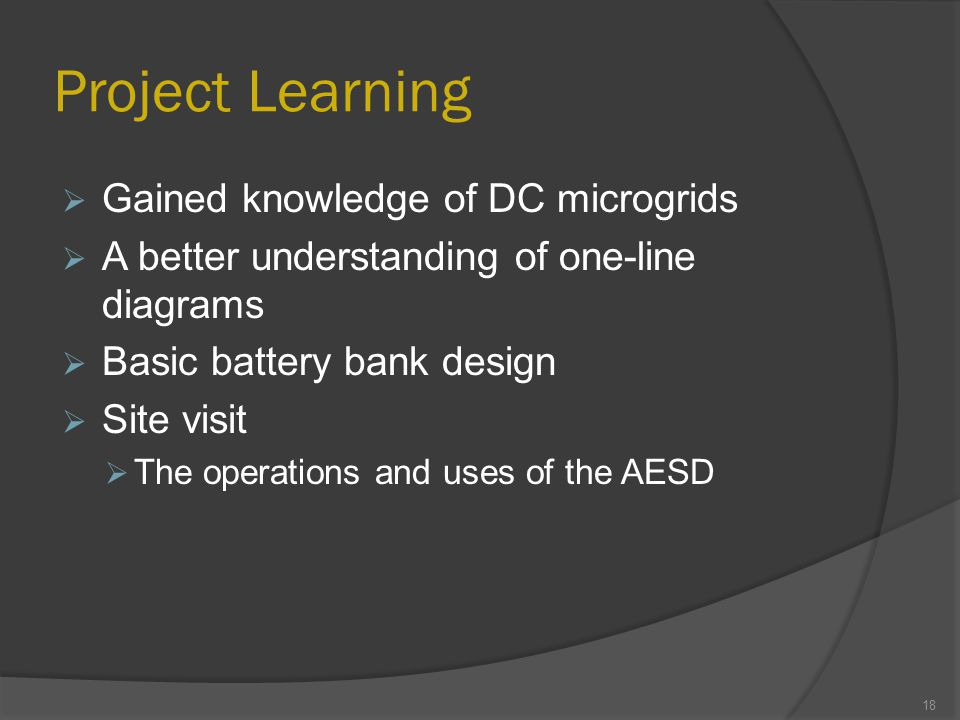 Project Learning  Gained knowledge of DC microgrids  A better understanding of one-line diagrams  Basic battery bank design  Site visit  The operations and uses of the AESD 18