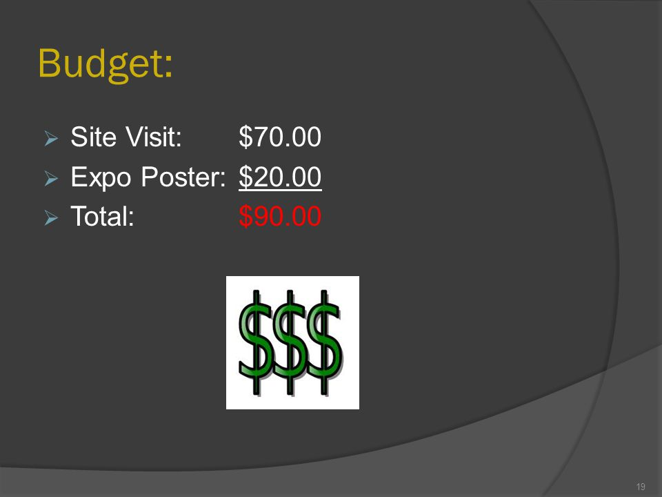 Budget:  Site Visit:$70.00  Expo Poster:$20.00  Total:$90.00 19