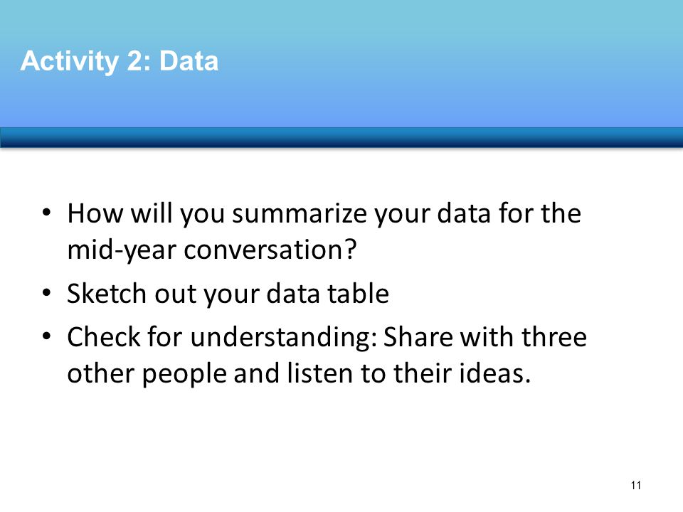 How will you summarize your data for the mid-year conversation.