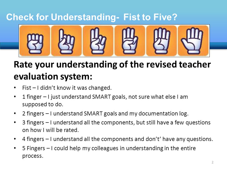 Rate your understanding of the revised teacher evaluation system: Fist – I didn't know it was changed.