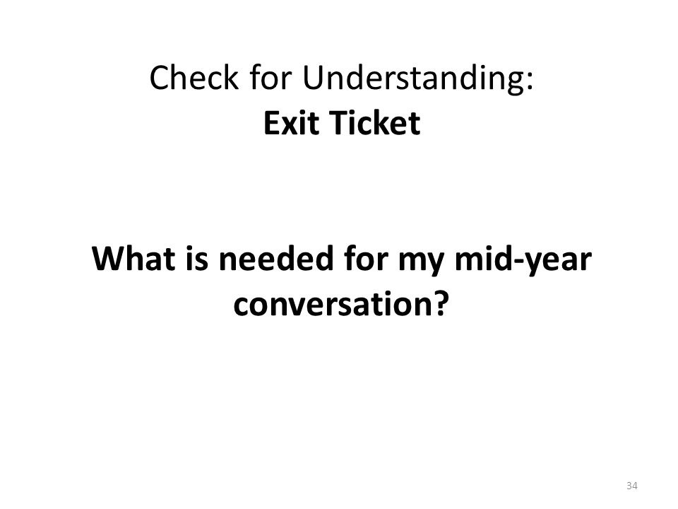 Check for Understanding: Exit Ticket What is needed for my mid-year conversation 34