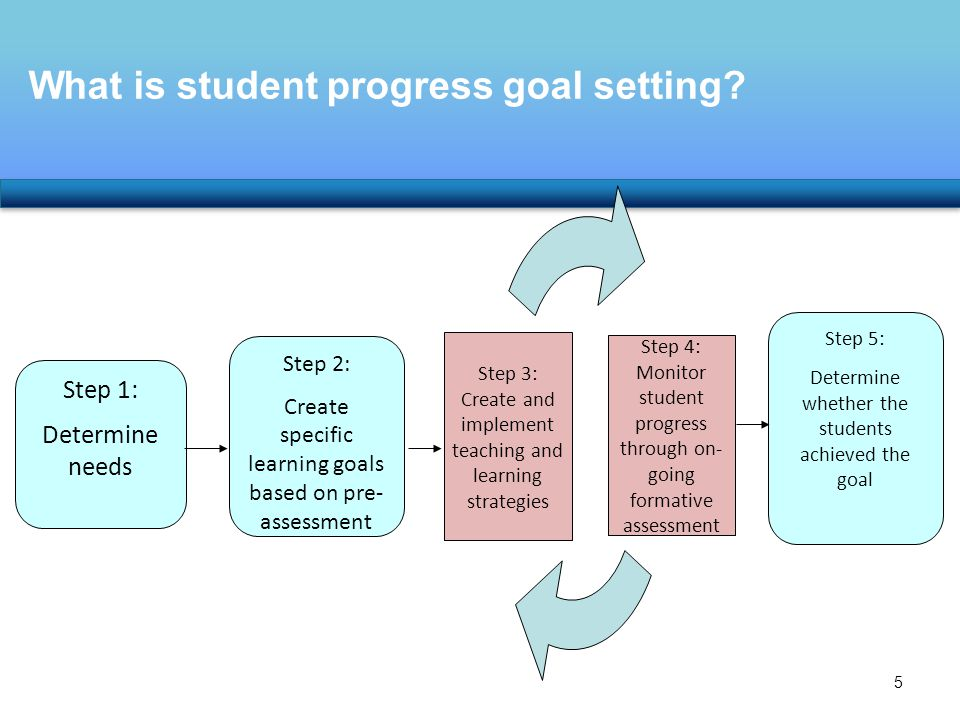 What is student progress goal setting.