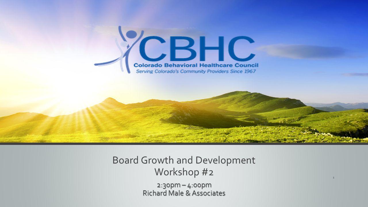 Board Growth and Development Workshop #2 2:30pm – 4:00pm Richard Male & Associates 1