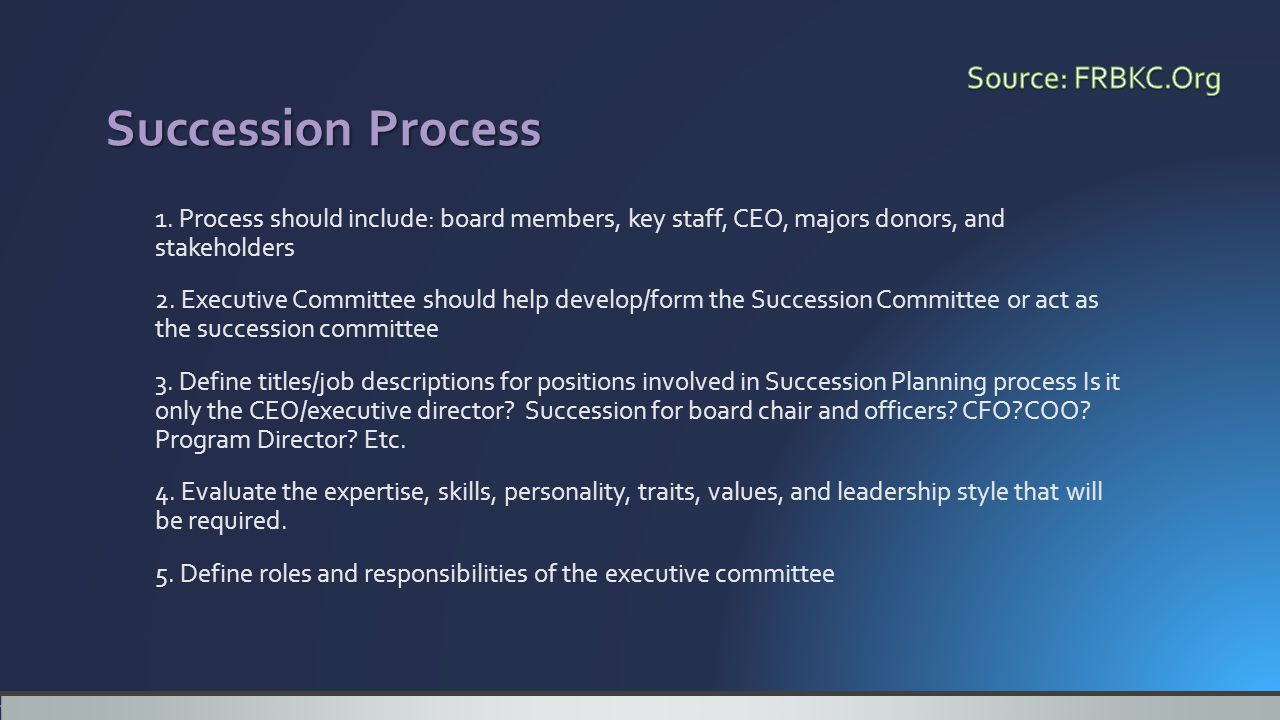 1. Process should include: board members, key staff, CEO, majors donors, and stakeholders 2.