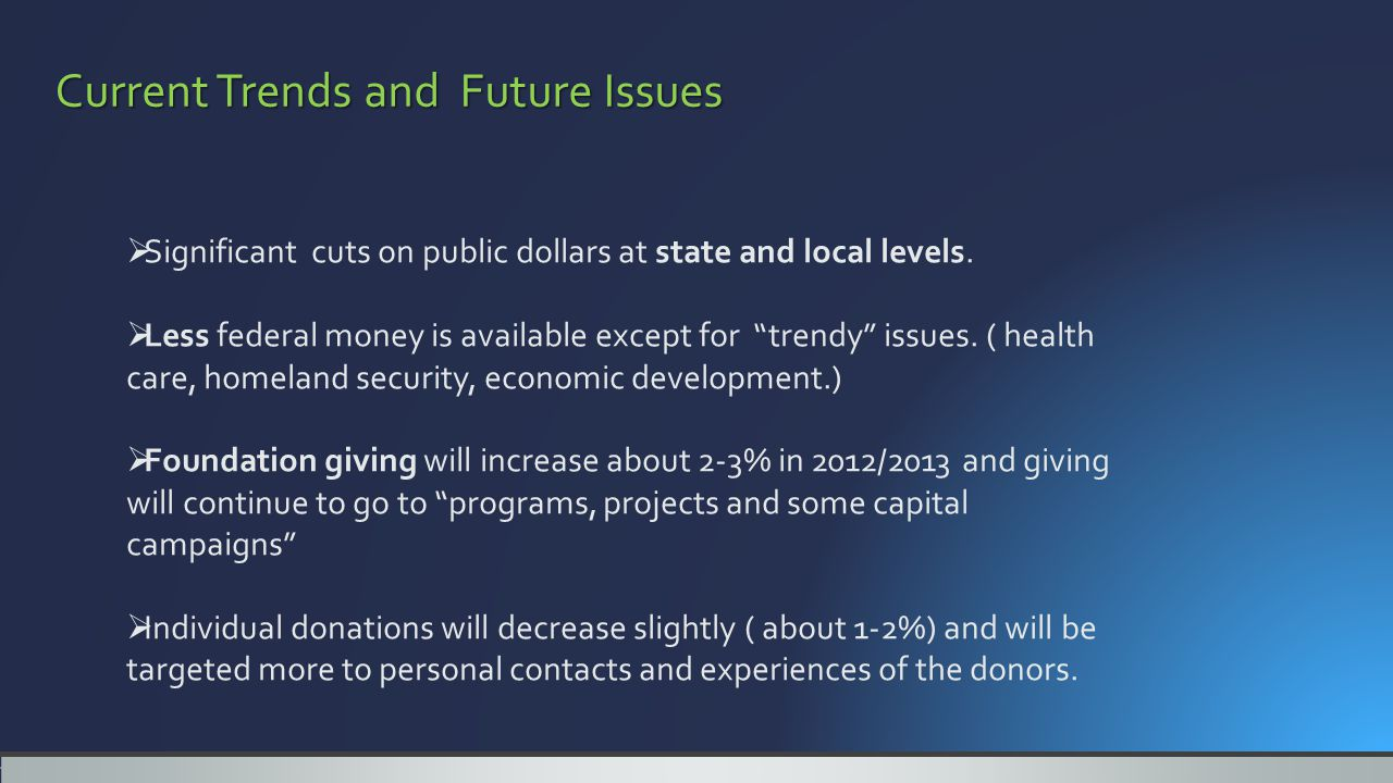 Current Trends and Future Issues  Significant cuts on public dollars at state and local levels.