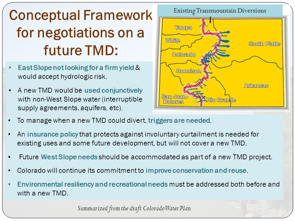 Conceptual Framework for negotiations on a future TMD: East Slope not looking for a firm yield & would accept hydrologic risk.