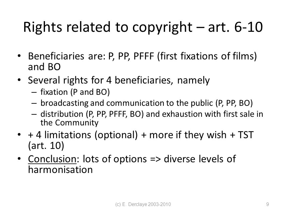 (c) E. Derclaye 2003-20109 Rights related to copyright – art.