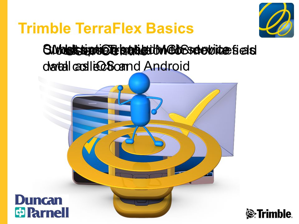 Trimble TerraFlex Basics Cloud based solution for mobile field data collection Works on Trimble MGIS devices as well as iOS and Android Subscription based web service User Centric
