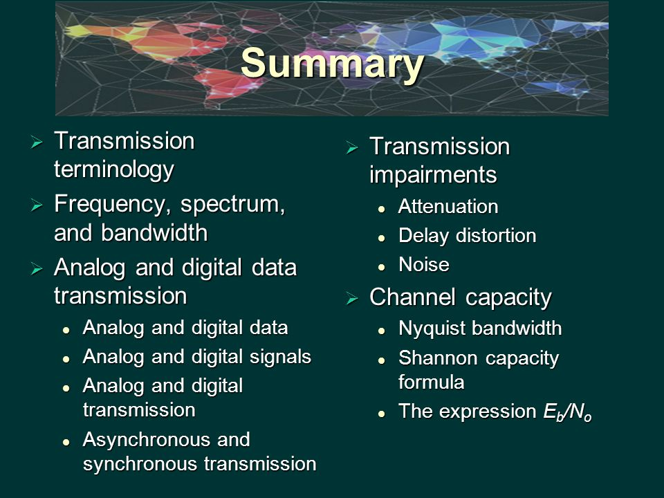 Summary  Transmission terminology  Frequency, spectrum, and bandwidth  Analog and digital data transmission Analog and digital data Analog and digital data Analog and digital signals Analog and digital signals Analog and digital transmission Analog and digital transmission Asynchronous and synchronous transmission Asynchronous and synchronous transmission  Transmission impairments Attenuation Delay distortion Noise  Channel capacity Nyquist bandwidth Shannon capacity formula The expression E b /N o