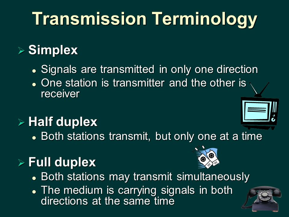  Simplex Signals are transmitted in only one direction Signals are transmitted in only one direction One station is transmitter and the other is receiver One station is transmitter and the other is receiver  Half duplex Both stations transmit, but only one at a time Both stations transmit, but only one at a time  Full duplex Both stations may transmit simultaneously Both stations may transmit simultaneously The medium is carrying signals in both directions at the same time The medium is carrying signals in both directions at the same time