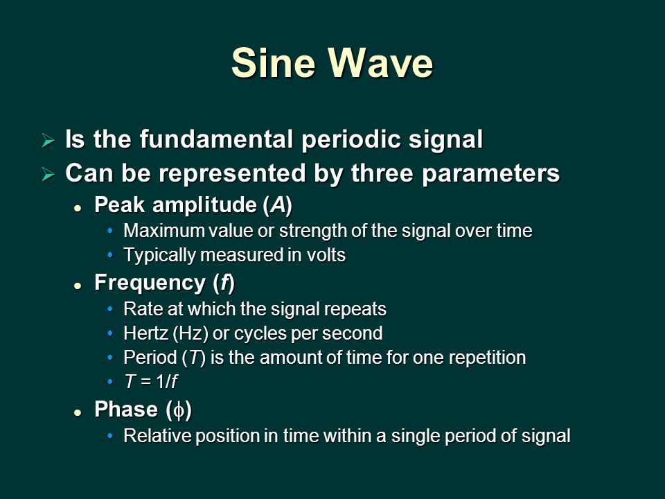 Sine Wave  Is the fundamental periodic signal  Can be represented by three parameters Peak amplitude (A) Peak amplitude (A) Maximum value or strength of the signal over timeMaximum value or strength of the signal over time Typically measured in voltsTypically measured in volts Frequency (f) Frequency (f) Rate at which the signal repeatsRate at which the signal repeats Hertz (Hz) or cycles per secondHertz (Hz) or cycles per second Period (T) is the amount of time for one repetitionPeriod (T) is the amount of time for one repetition T = 1/fT = 1/f Phase (  ) Phase (  ) Relative position in time within a single period of signalRelative position in time within a single period of signal