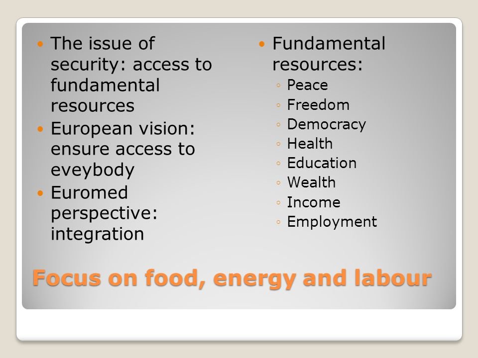 Focus on food, energy and labour Focus on food, energy and labour The issue of security: access to fundamental resources European vision: ensure access to eveybody Euromed perspective: integration Fundamental resources: ◦Peace ◦Freedom ◦Democracy ◦Health ◦Education ◦Wealth ◦Income ◦Employment