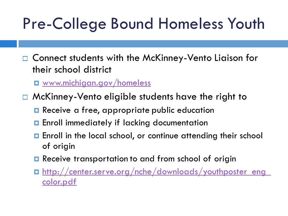 Pre-College Bound Homeless Youth  Connect students with the McKinney-Vento Liaison for their school district  www.michigan.gov/homeless www.michigan.gov/homeless  McKinney-Vento eligible students have the right to  Receive a free, appropriate public education  Enroll immediately if lacking documentation  Enroll in the local school, or continue attending their school of origin  Receive transportation to and from school of origin  http://center.serve.org/nche/downloads/youthposter_eng_ color.pdf http://center.serve.org/nche/downloads/youthposter_eng_ color.pdf
