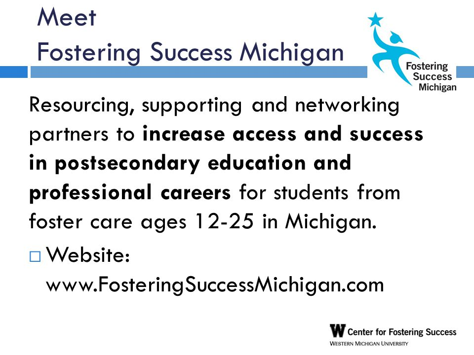 Meet Fostering Success Michigan Resourcing, supporting and networking partners to increase access and success in postsecondary education and professional careers for students from foster care ages 12-25 in Michigan.
