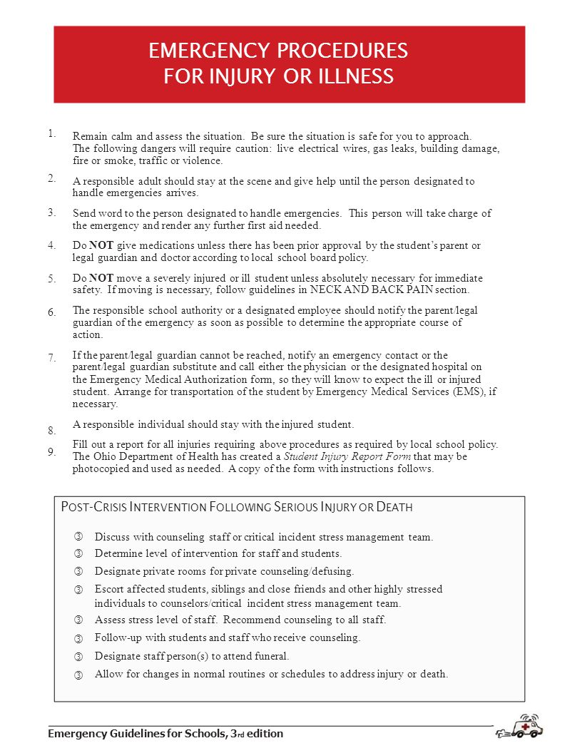 Emergency Guidelines for Schools, 3 rd edition 1.2.