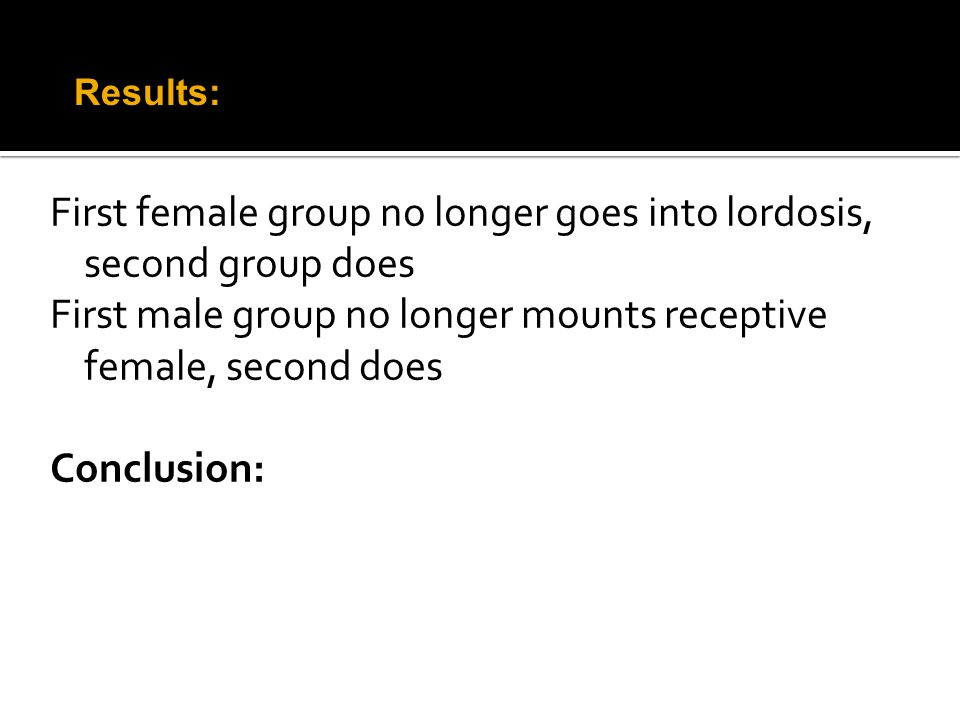 First female group no longer goes into lordosis, second group does First male group no longer mounts receptive female, second does Conclusion: Results: