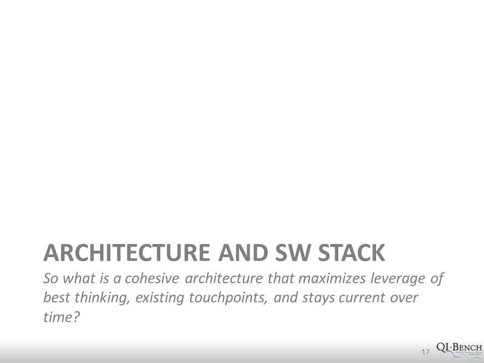 ARCHITECTURE AND SW STACK So what is a cohesive architecture that maximizes leverage of best thinking, existing touchpoints, and stays current over time.