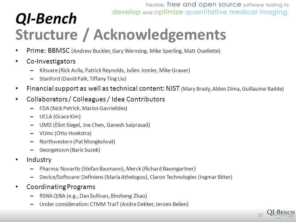 QI-Bench Structure / Acknowledgements Prime: BBMSC (Andrew Buckler, Gary Wernsing, Mike Sperling, Matt Ouellette) Co-Investigators – Kitware (Rick Avila, Patrick Reynolds, Julien Jomier, Mike Grauer) – Stanford (David Paik, Tiffany Ting Liu) Financial support as well as technical content: NIST (Mary Brady, Alden Dima, Guillaume Radde) Collaborators / Colleagues / Idea Contributors – FDA (Nick Petrick, Marios Gavrielides) – UCLA (Grace Kim) – UMD (Eliot Siegel, Joe Chen, Ganesh Saiprasad) – VUmc (Otto Hoekstra) – Northwestern (Pat Mongkolwat) – Georgetown (Baris Suzek) Industry – Pharma: Novartis (Stefan Baumann), Merck (Richard Baumgartner) – Device/Software: Definiens (Maria Athelogou), Claron Technologies (Ingmar Bitter) Coordinating Programs – RSNA QIBA (e.g., Dan Sullivan, Binsheng Zhao) – Under consideration: CTMM TraIT (Andre Dekker, Jeroen Belien) 27