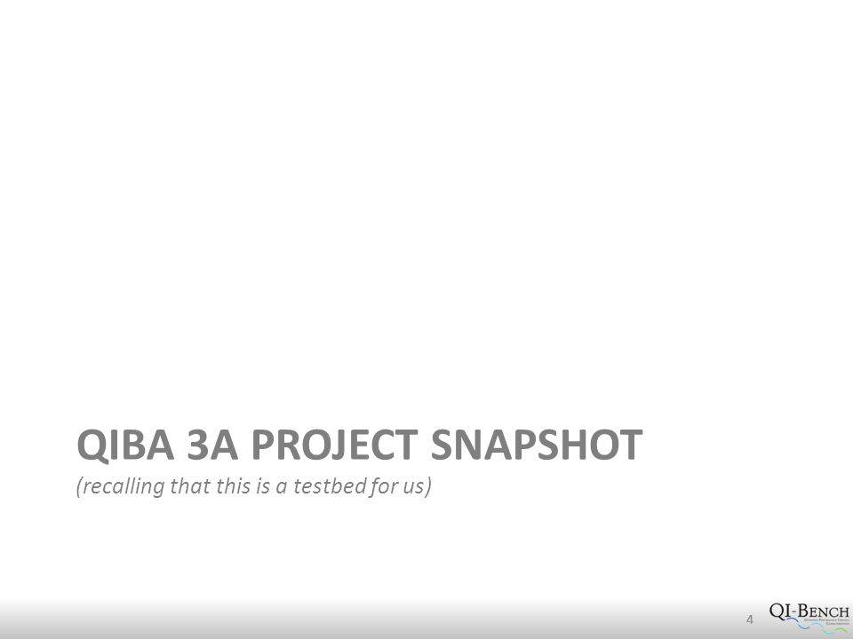 QIBA 3A PROJECT SNAPSHOT (recalling that this is a testbed for us) 444