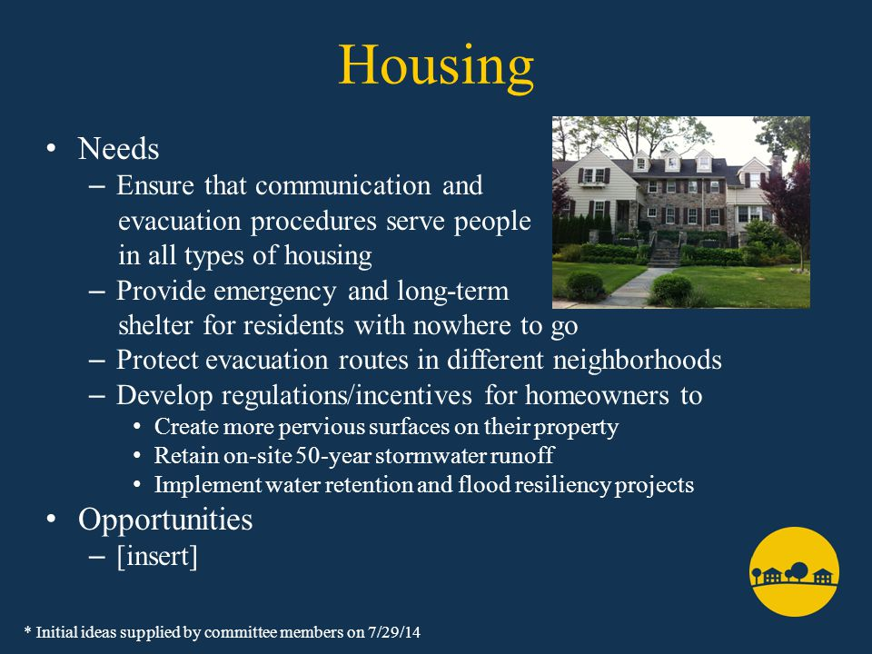 Housing Needs – Ensure that communication and evacuation procedures serve people in all types of housing – Provide emergency and long-term shelter for residents with nowhere to go – Protect evacuation routes in different neighborhoods – Develop regulations/incentives for homeowners to Create more pervious surfaces on their property Retain on-site 50-year stormwater runoff Implement water retention and flood resiliency projects Opportunities – [insert] * Initial ideas supplied by committee members on 7/29/14