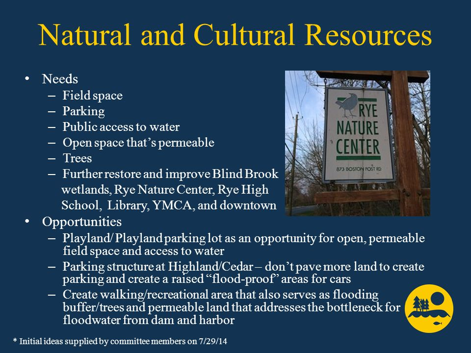Natural and Cultural Resources Needs – Field space – Parking – Public access to water – Open space that's permeable – Trees – Further restore and improve Blind Brook wetlands, Rye Nature Center, Rye High School, Library, YMCA, and downtown Opportunities – Playland/ Playland parking lot as an opportunity for open, permeable field space and access to water – Parking structure at Highland/Cedar – don't pave more land to create parking and create a raised flood-proof areas for cars – Create walking/recreational area that also serves as flooding buffer/trees and permeable land that addresses the bottleneck for floodwater from dam and harbor * Initial ideas supplied by committee members on 7/29/14