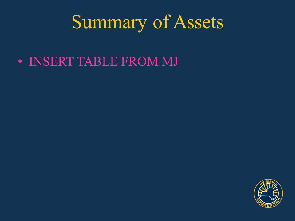 Summary of Assets INSERT TABLE FROM MJ