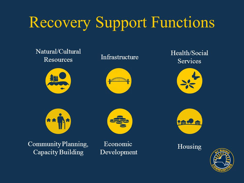 Infrastructure Natural/Cultural Resources Recovery Support Functions Economic Development Housing Health/Social Services Community Planning, Capacity Building
