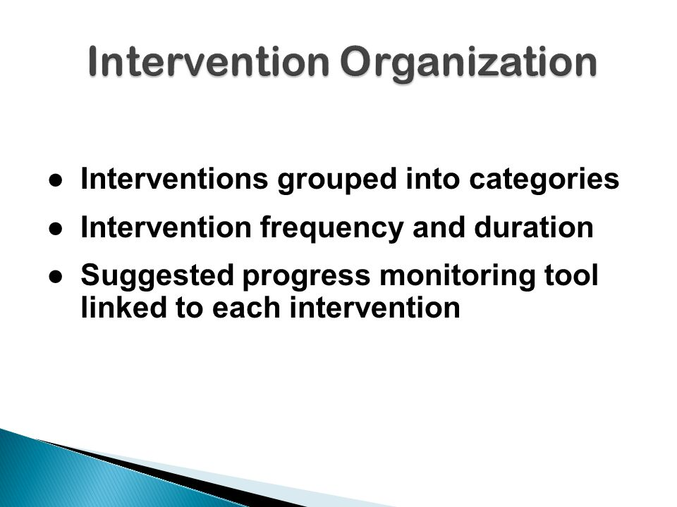 ●Interventions grouped into categories ●Intervention frequency and duration ●Suggested progress monitoring tool linked to each intervention