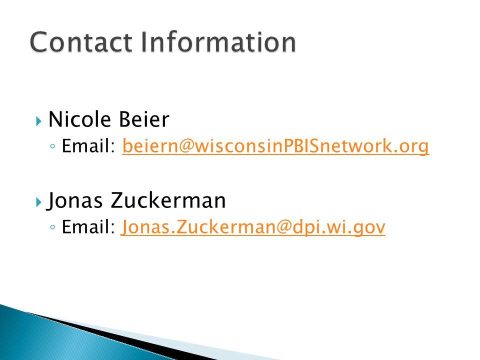  Nicole Beier ◦ Email: beiern@wisconsinPBISnetwork.orgbeiern@wisconsinPBISnetwork.org  Jonas Zuckerman ◦ Email: Jonas.Zuckerman@dpi.wi.govJonas.Zuckerman@dpi.wi.gov