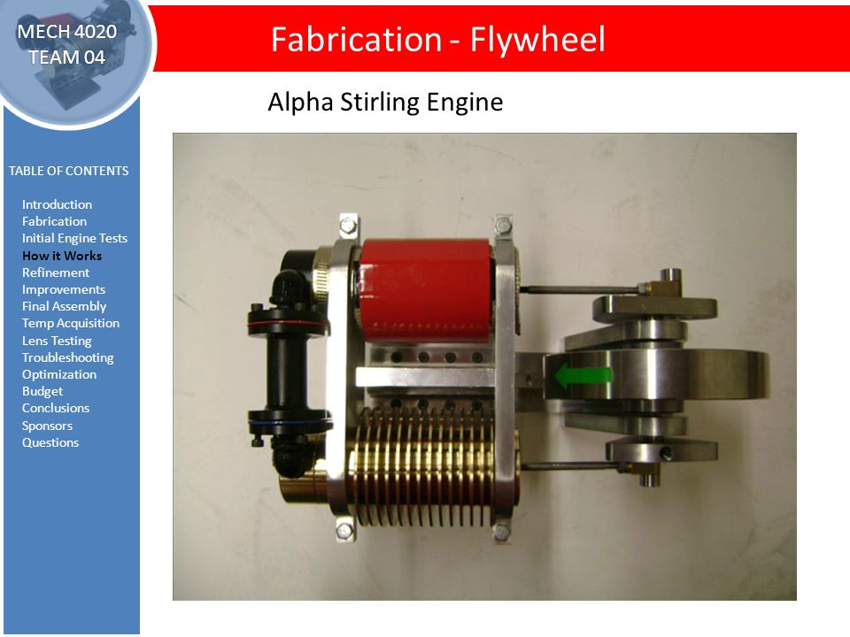 How It Works Fabrication - Flywheel TABLE OF CONTENTS Introduction Fabrication Initial Engine Tests How it Works Refinement Improvements Final Assembly Temp Acquisition Lens Testing Troubleshooting Optimization Budget Conclusions Sponsors Questions MECH 4020 TEAM 04 Alpha Stirling Engine