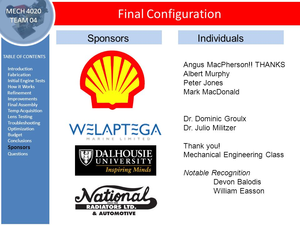 Sponsors and Thanks Final Configuration TABLE OF CONTENTS Introduction Fabrication Initial Engine Tests How it Works Refinement Improvements Final Ass