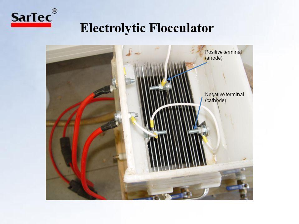 Electrolytic Flocculator Positive terminal (anode) Negative terminal (cathode)