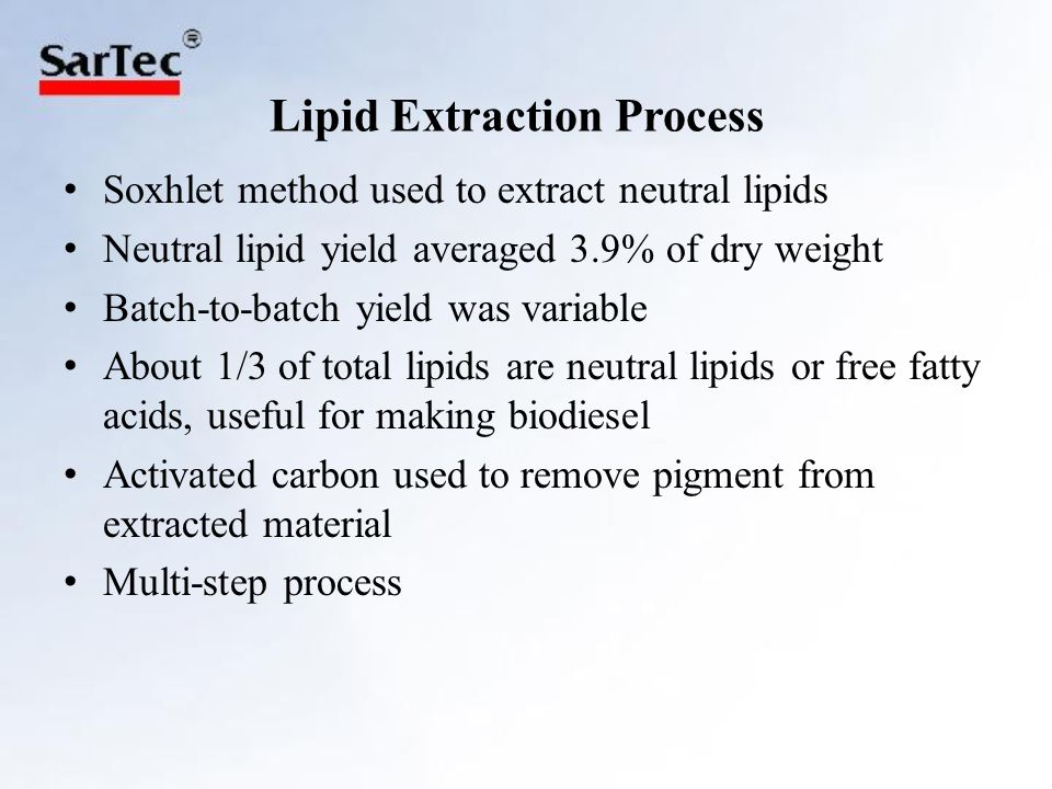 Lipid Extraction Process Soxhlet method used to extract neutral lipids Neutral lipid yield averaged 3.9% of dry weight Batch-to-batch yield was variable About 1/3 of total lipids are neutral lipids or free fatty acids, useful for making biodiesel Activated carbon used to remove pigment from extracted material Multi-step process
